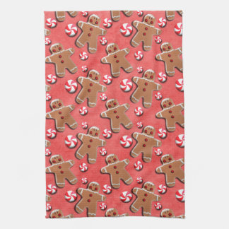 Gingerbread Cookies Candies Red Tea Towel