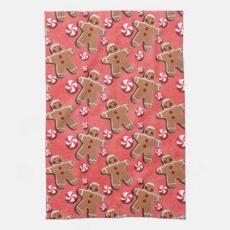 Gingerbread Cookies Candies Red Towels