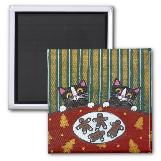 Gingerbread Cookies & Cats Square Magnet