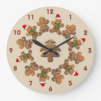 Gingerbread Cookies Celebrating Christmas Large Clock