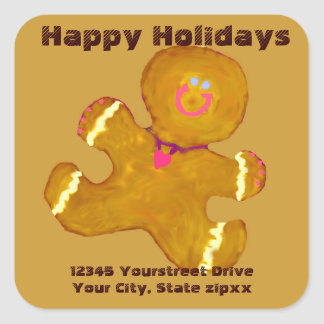 Gingerbread Cookies return address Square Sticker