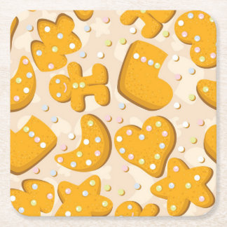Gingerbread cookies square paper coaster