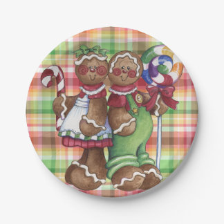 Gingerbread Couple Candy Shop Paper Plate
