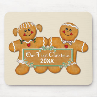 Gingerbread Couple First Christmas Mousepads
