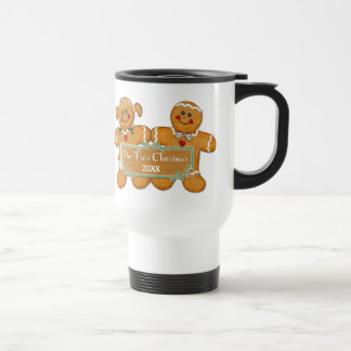 Gingerbread Couple First Christmas Stainless Steel Travel Mug