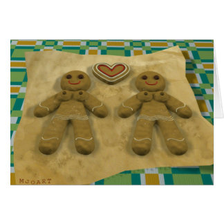 Gingerbread couple - lesbian card