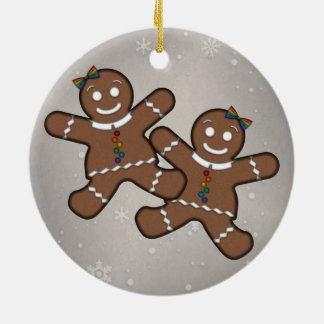Gingerbread Couple Lesbian Pride Round Ceramic Decoration