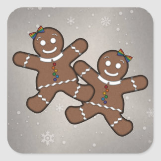 Gingerbread Couple Lesbian Pride Square Sticker