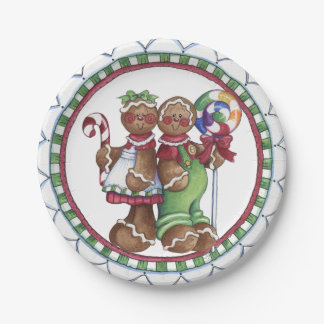 Gingerbread Couple Lollipop Candy Cane Paper Plate