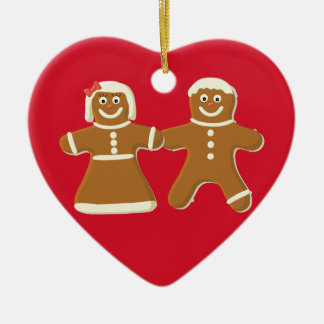 Gingerbread Couple on Red Heart Holiday Ornament