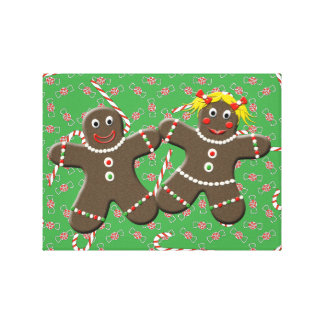 Gingerbread Couple With Christmas Candy Canvas Art Gallery Wrapped Canvas