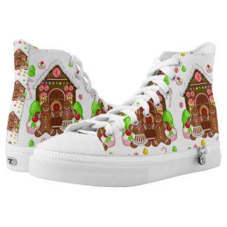 Gingerbread Crazy, Zipz High Tops Printed Shoes