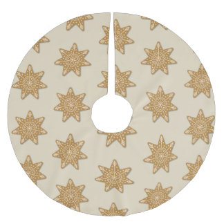 Gingerbread Decorated Star Cookie Pattern Brushed Polyester Tree Skirt