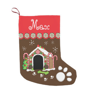gingerbread dog house small christmas stocking