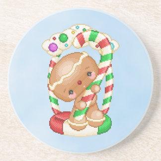Gingerbread Doll Candy Pixel Art Coaster