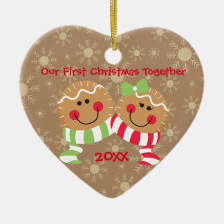 Gingerbread Face First Christmas Together Ornament