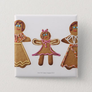 Gingerbread family. Against white background. 15 Cm Square Badge