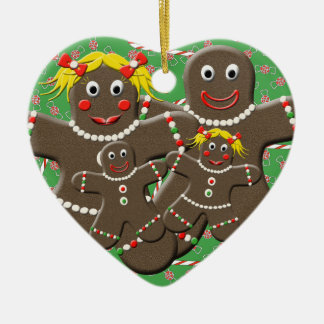 Gingerbread Family Heart Christmas Tree Ornament