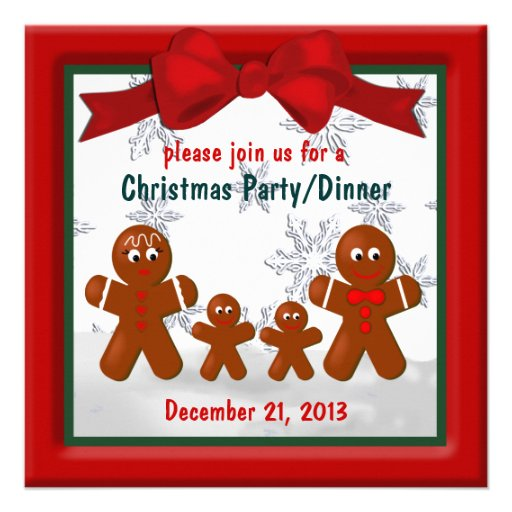 Gingerbread Family of Four Christmas Invitation
