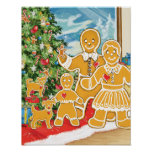 Gingerbread Family With Their Christmas Tree Poster
