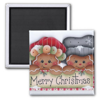 Gingerbread Folks Merry Christmas Magnet