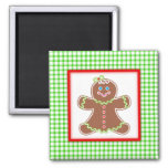 Gingerbread Friends Girl Square Magnet