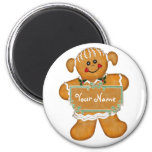Gingerbread Fun 6 Cm Round Magnet