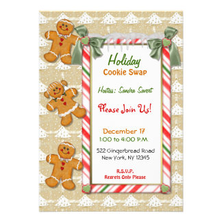 Gingerbread Fun Cookie Exchange Invitation Personalized Announcement