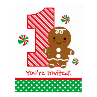 Gingerbread Girl 1st Birthday Invitation Postcard