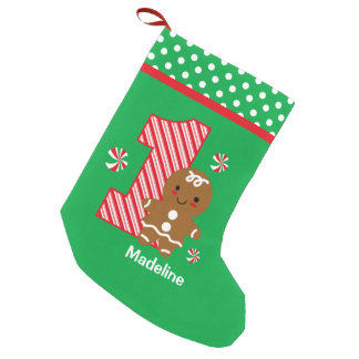 Gingerbread Girl 1st Birthday Small Christmas Stocking