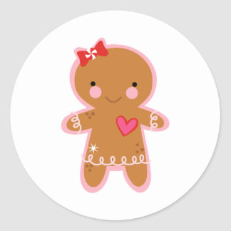 Gingerbread Girl Classic Round Sticker