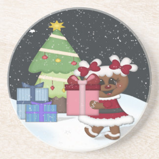 Gingerbread Girl Drink Coasters