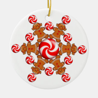 GINGERBREAD GIRL WHEEL by SHARON SHARPE Round Ceramic Decoration