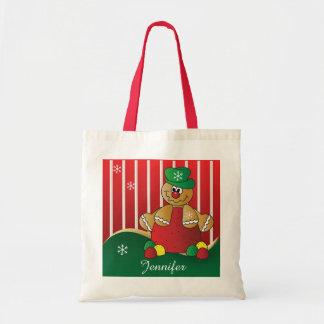 Gingerbread Gumdrop Man | DIY Name | Christmas Budget Tote Bag