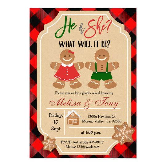 Gingerbread Holiday Gender Reveal Invitation