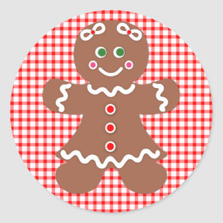 Gingerbread Holiday Girl Classic Round Sticker