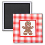 Gingerbread Holiday Girl Square Magnet
