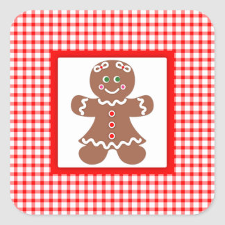 Gingerbread Holiday Girl Square Sticker