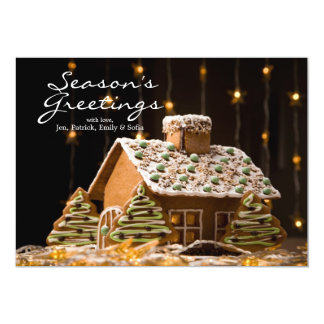 Gingerbread House 2 13 Cm X 18 Cm Invitation Card