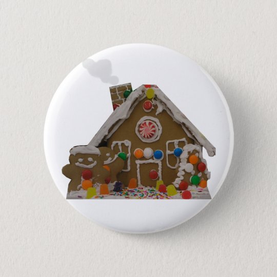 Gingerbread House 6 Cm Round Badge
