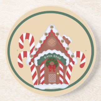 Gingerbread House and Candy Canes Holidy Coaster