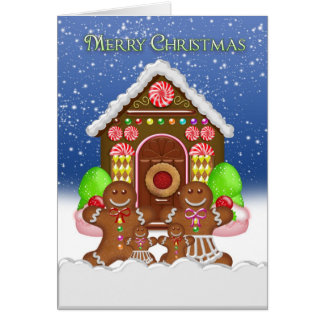 Gingerbread House and Family Christmas Greeting Ca Card