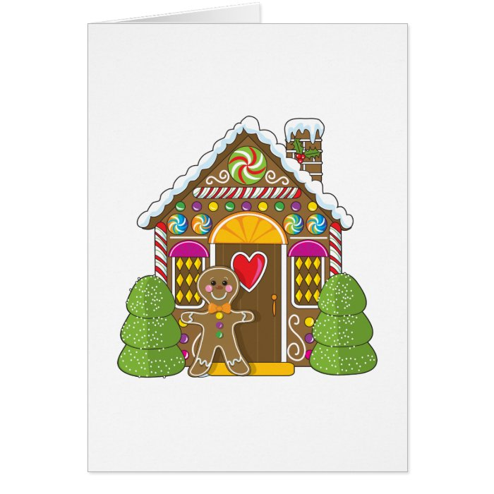 Gingerbread House and Man Greeting Card