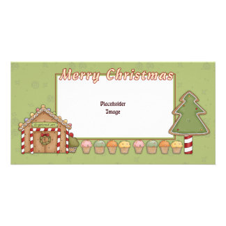 Gingerbread House and Xmas trees Customized Photo Card