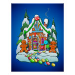 GINGERBREAD HOUSE by SHARON SHARPE Posters