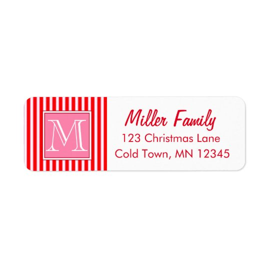 Gingerbread House Candy Cane Stripes Return Address Label