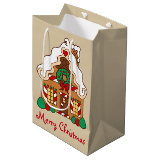Gingerbread House Christmas Gift Bag