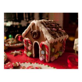 Gingerbread House Christmas Postcard