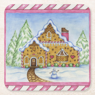 Gingerbread House Coasters Square Paper Coaster