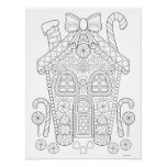 Gingerbread House Colouring Poster - Christmas Art